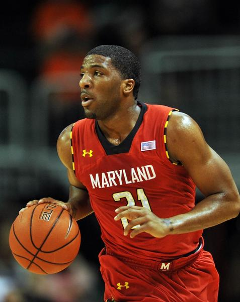Terps guard Pe'Shon Howard dribbles against the Miami Hurricanes in January.