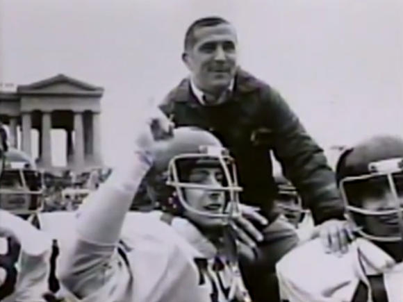 Former Brother Rice coach Tom Mitchell, shown here on the shoulders of some players.