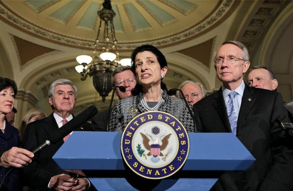 Susan Collins, Ben Nelson, Olympia Snowe, Joe Lieberman, Max Baucus, Harry Reid and Arlen Specter,
