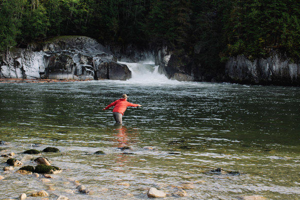 An angler casts his line in a remote river near the northern tip of British Columbia's Vancouver Island.