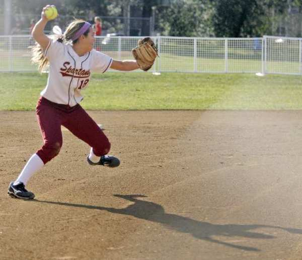 La Canada's Annie Monroe throws the ball to first base during a scrimmage Burroughs at La Canada High School on Thursday, February 21, 2013.