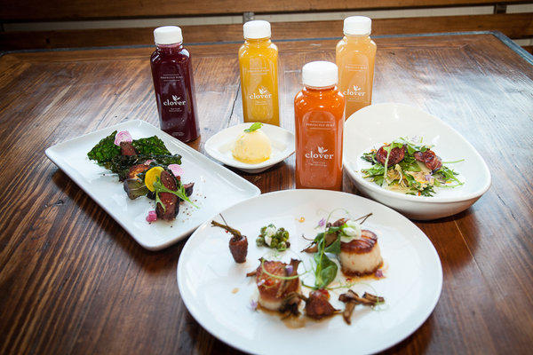 Clover juice bar is opening at the Churchill, where chef Bruce Kalman is also offering a juice-pairing dinner.