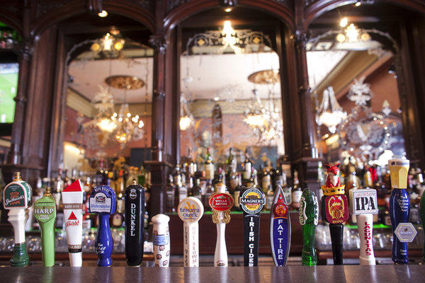 The taps at Ri Ra in Las Vegas reflect the pub's wide selection of brews, many of them Irish.
