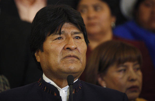 Bolivian President Evo Morales pauses during a news conference in La Paz, Bolivia.