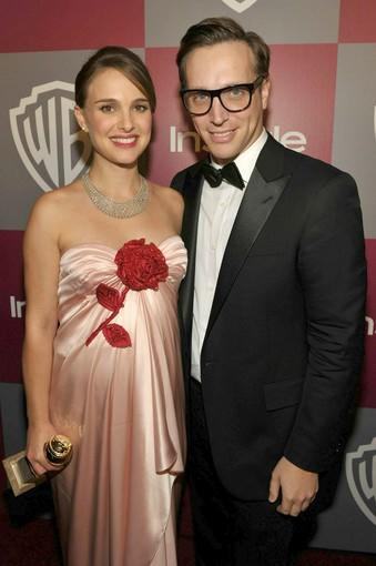 "Actress Natalie Portman, who took home a Golden Globe for her role in ""Black Swan,"" and InStyle editor Ariel Foxman attend InStyle's and Warner Bros.' Golden Globe Awards after-party at the Beverly Hilton."