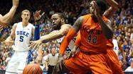 DURHAM, N.C. — For the second time in two weeks Tuesday, Duke punished Virginia Tech. The Blue Devils again shredded the Hokies' defense, especially from beyond the 3-point arc, committed precious few turnovers and survived Erick Green's nightly soliloquy.
