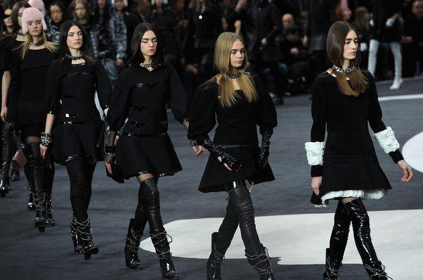 Models walk the runway during the Chanel show at Paris Fashion Week.