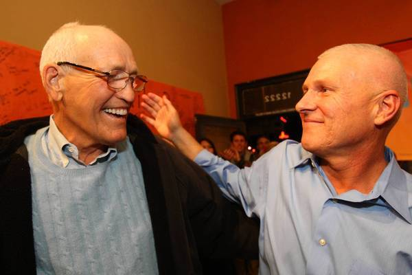 L.A. City Councilman Bill Rosendahl, left, is shown at a Tuesday night election party with his former aide, Mike Bonin, one of the few front-runners for a City Council seat who did not serve in the state Legislature. Bonin aims to replace Rosendahl in the 11th District.