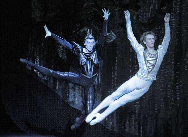 "Pavel Dmitrichenko, left, as the Evil Genius (with Semen Chudin as Prince Siegfried) in Act I of ""Swan Lake"" by the Bolshoi Ballet in 2012 at the Music Center."