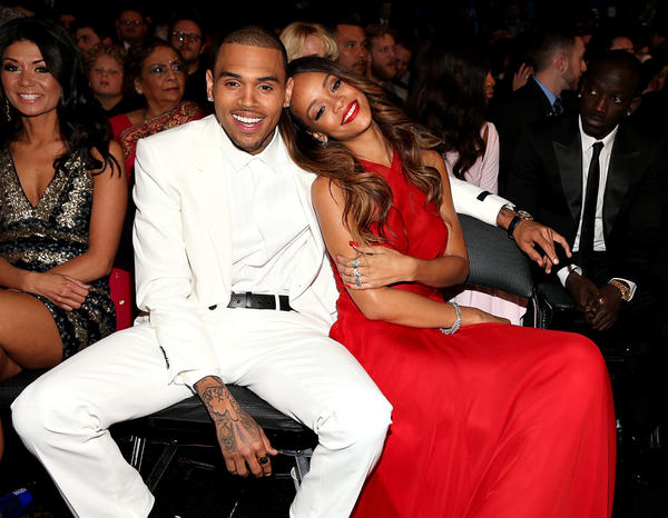 Chris Brown and Rihanna attend the 55th annual Grammy Awards on Feb. 10, 2013 in Los Angeles.