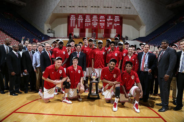 Indiana Hoosiers pose for a team photo after clinching at least a share of the Big Ten Championship after the game against the Ohio State Buckeyes at Assembly Hall.