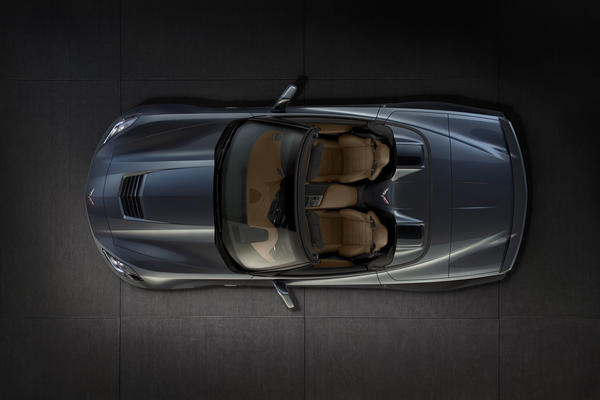 The Corvette Stingray convertible has the same 450-horsepower V-8 as the coupe. The power-folding roof can be operated at speeds up to 30 mph.