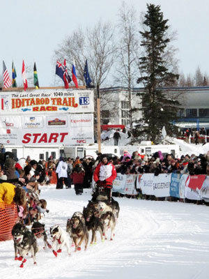 Lance Mackey sets off from Anchorage, Alaska, on Sunday on the first leg of the Iditarod Trail Sled Dog Race.