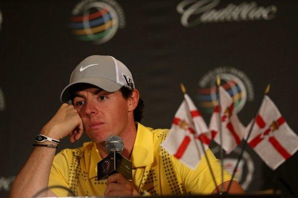 Rory McIlroy talks to the media Wednesday.