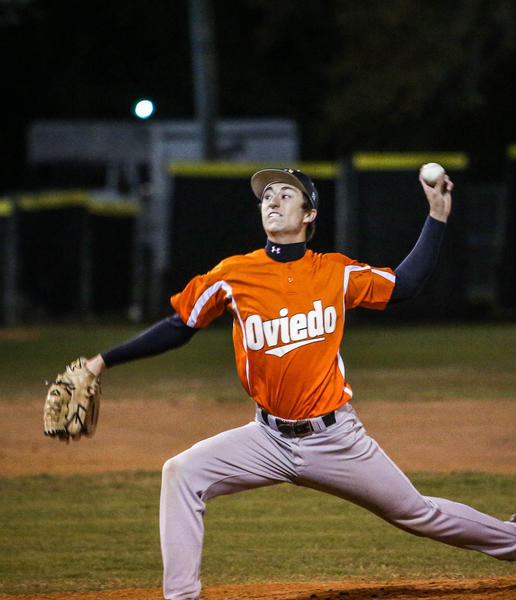 Oviedo's pitcher Brad Landers (16) pitches during first inning action of a boys highschool baseball game against Winter Park in Winter Park, Fla. on Tuesday, March 05, 2013. (Joshua C. Cruey/Orlando Sentinel)