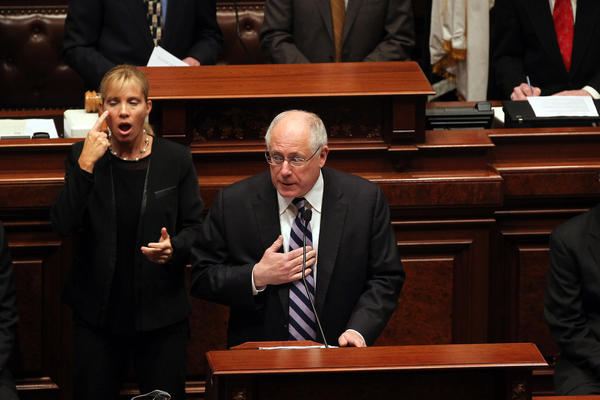 Governor Pat Quinn gives the Budget address at the Capitol in Springfield.