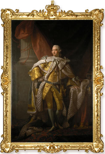 This portrait of King George III in coronation robes, from the studio of Allan Ramsay, includes its original 18th-century gilt frame.