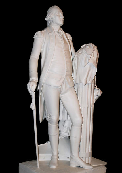 This statue of George Washington made by William James Hubard in the 1850s is a copy of a late-1700s marble statue by Jean-Antoine Houdon that resides in the Virginia State Capitol. The Hubard statue stood in the Hall of Representatives of the U.S. Capitol from 1870 to 1950.