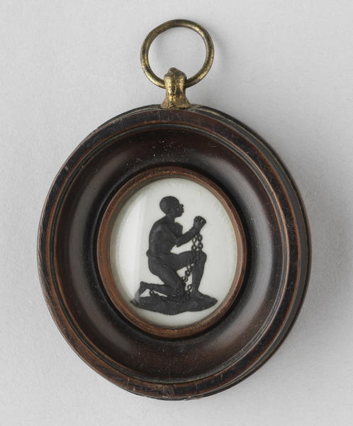 "This circa 1790 Wedgwood cameo medallion designed for the British abolitionist movement depicts a manacled slave surrounded by the motto, ""AM I NOT A MAN AND A BROTHER?"" The  movement also took hold in the United States during the Revolution."