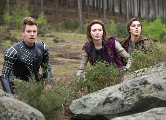 "Ewan McGregor as Elmont, Eleanor Tomlinson as Isabelle and Nicholas Hoult as Jack ""Jack the Giant Slayer."""