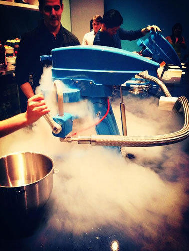 The Ice-Cream Lab liquid nitrogen machines in action.