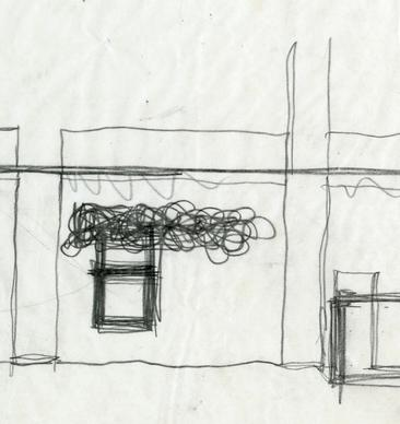 Frank Gehry (born 1929), Sketch for Joseph Magnin Store, Costa Mesa in 1968