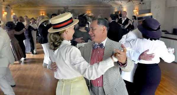 Alfredo Acosta dances with his wife, Dr. Mary Cote, during the Lanterman House Ragtime Tea Dance.
