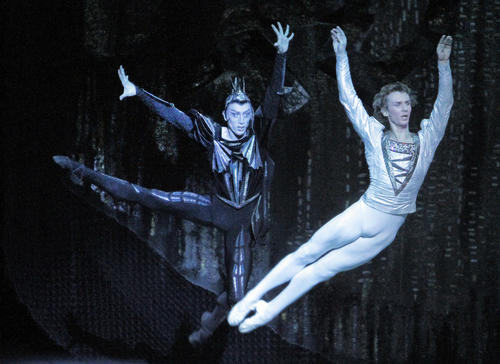 "Pavel Dmitrichenko, left, as the Evil Genius, and Semyon Chudin as Prince Siegfried in the Bolshoi's ""Swan Lake""  at the Music Center in Los Angeles."