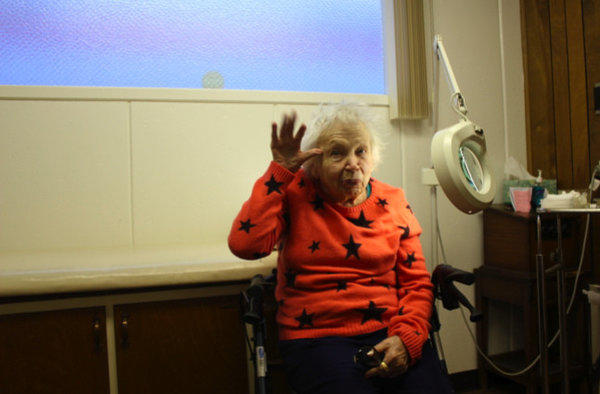"Barbara ""Cutie"" Cooper, 96, author of ""Fall in Love for Life,"" getting a checkup."