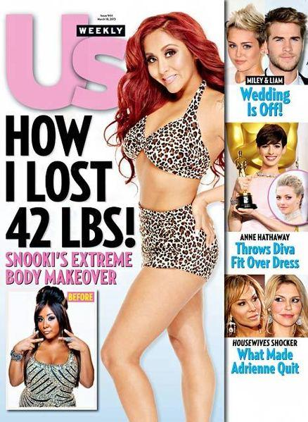 Snooki loses 42 pounds and shows off her weight loss on an Us Weekly cover and an inside spread.