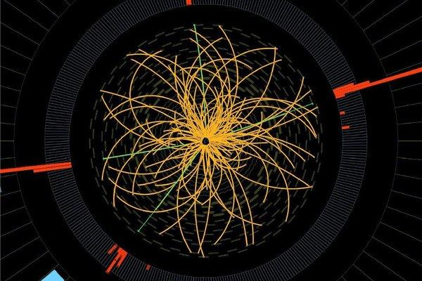 A 2011 proton collision from the Large Hadron Collider, consistent with the decay of a Higgs boson. Scientists discussed the latest LHC Higgs results at a conference in Italy on Wednesday.
