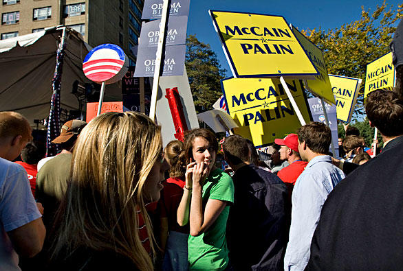 Hofstra University students campaign for their favorite candidate outside the school's student center ahead of tonight's third and final presidential debate, to be held at the Hempstead, N.Y., school, between Republican nominee John McCain and Democratic nominee Barack Obama.