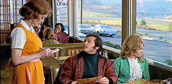 "Lorna Thayer, left, with Jack Nicholson and Karen Black in the 1970 drama ""Five Easy Pieces."""