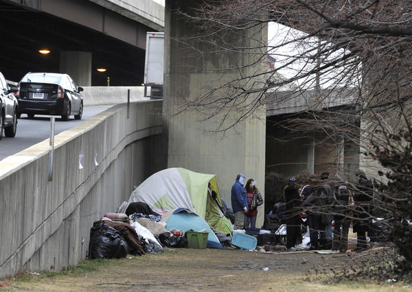 This homeless encampment near the Jones Falls Expressway is set to be cleared by the city Friday.