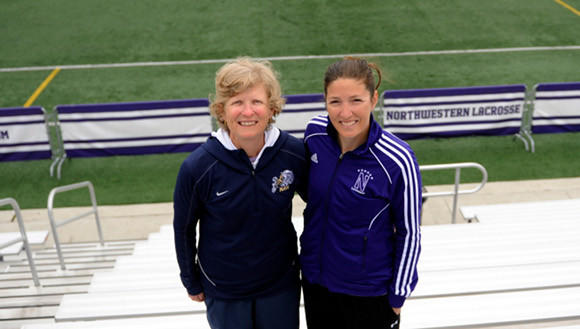 Lacrosse coaches Cindy Timchal (Navy, left) and Kelly Amonte Hiller before their 2012 game in Evanston.
