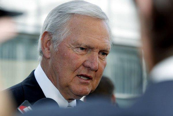 Jerry West at the memorial service for Lakers owner Jerry Buss.
