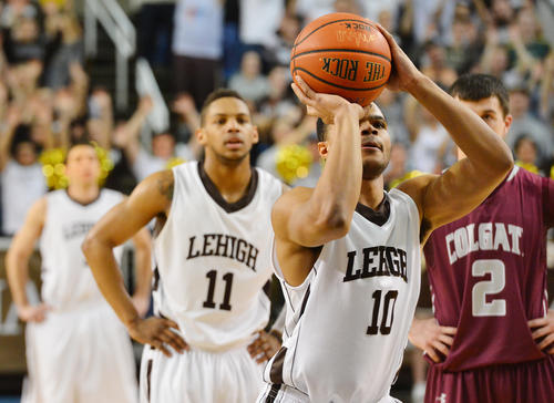 Lehigh's B.J. Bailey (10) takes a foul shot against  Colgate during a men's basketball game during the Patriot League tournament quarterfinals at Stabler Arena on Wednesday evening.