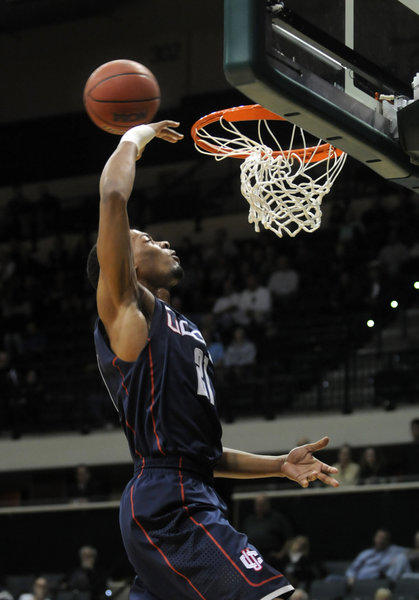 Omar Calhoun goes up for a dunk and misses at the end of the first half. The shot would have tied the game. UConn was down two at the half, 28-26. The UConn men met the University of Sout Florida in Tampa for their second to last game of the season Wednesday night.