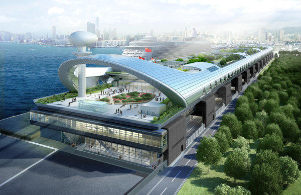 An artist's rendering of Hong Kong's planned cruise terminal at Kai Tak.