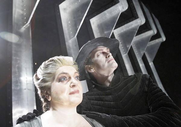 "Elisabete Matos and Tomas Tomasson on the set of L.A. Opera's ""The Flying Dutchman."""
