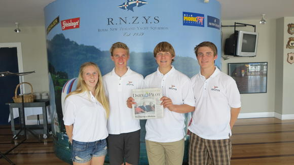 Newport Beach residents and Balboa Yacht Club sailors (from left) Megan Roach, Jack Martin, Harrison Vandervort and Christophe Killian pose with the Daily Pilot as they get ready to race in the Harkin Youth International Match Racing Championships at the Royal New Zealand Yacht Squadron.