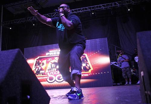 Raekwon performs onstage at the Rock the Bells Festival at San Manuel Amphitheatre  on Saturday.