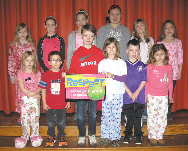 Potomac Heights Elementary School recently honored 12 students for exemplifying the character traits of a respectful person. Front row, from left, Beka Caldwell, Drayven Cline, Grayden Scibilia, Leah Stotlemyer, Asher White and Madelynn Tregoning. Back row, Dahlia Skopek, Emma Beal, Emily Askin, Mina Foutch, Carlyn Smith and Anabella James.