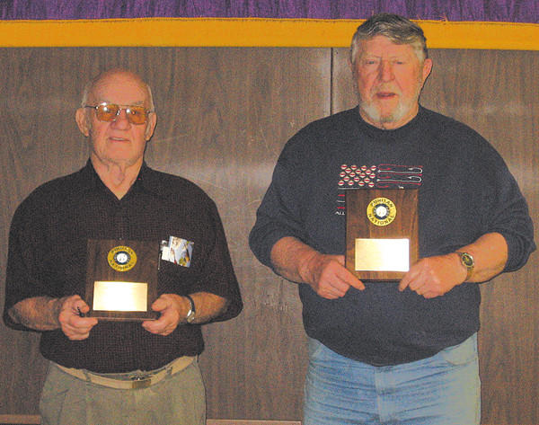 "State Line Ruritan honored charter members Roy ""Jack"" Myers, left, and Roy ""Bing"" Bingaman on Feb. 18."