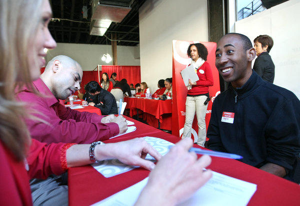 A Target job fair for a new Los Angeles store. Employers on average are waiting longer to fill empty positions.