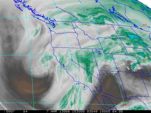 A satellite image shows water vapor above the Western U.S. on March 7, 2013.