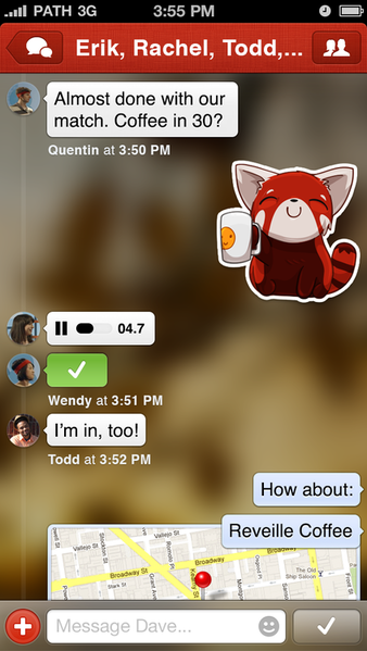 Path has added private messaging to its app.