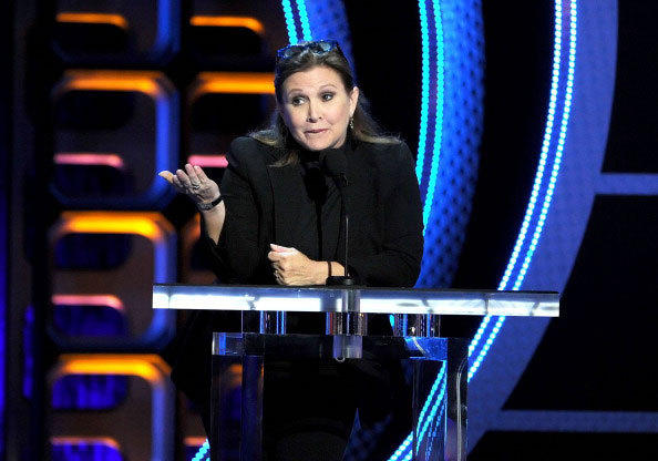 Actress Carrie Fisher speaks onstage during the Comedy Central Roast of Roseanne Barr at Hollywood Palladium on August 4, 2012 in Hollywood, California.