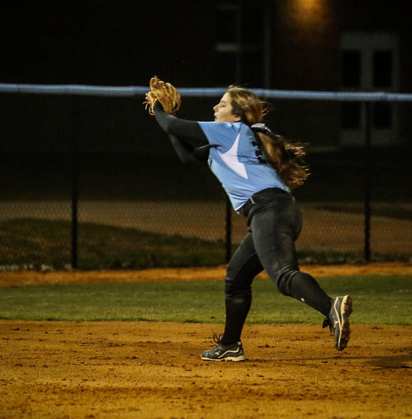 Hagerty's Jacey Castro (23) make the catch near third base for an out during third inning action of a girls high school softball game against Lyman in Oviedo, Fla. on Wednesday, March 06, 2013. (Joshua C. Cruey/Orlando Sentinel)