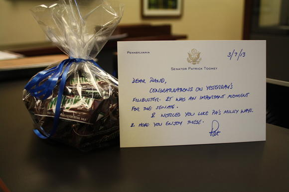 Toomey sends Rand Paul Milky Ways, the candy he ate during his filibuster